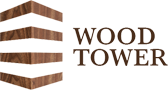The Wood Tower Logo, which is a wooden triangle shape design